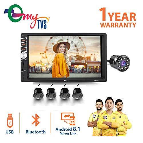 myTVS TAV-40 HD Touch Screen Car Stereo Media Player with Bluetooth/USB/MP5/MP3 & Mirror Link+8 LED Reverse Parking Camera+ Black Reverse Parking Sensor Kit