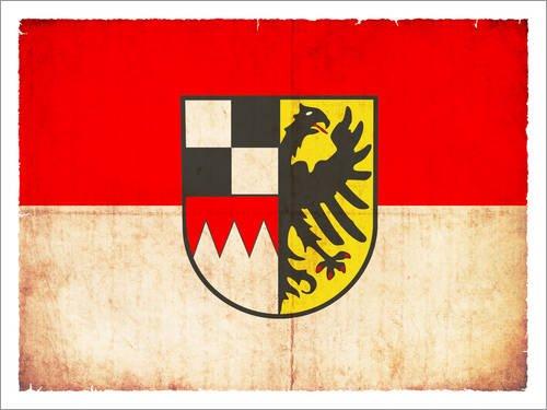 Holzbild 40 x 30 cm: Vintage Flagge von Mittelfranken von Christian Müringer Illustration Art