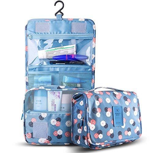 Kompakt Hängende Toilettenbeutel Reisetasche Organisator Tasche für Frauen & Männer Rasieren, Multifunktions Wasserdichte kosmetische Make-up Tasche mit Hängen Haken & Klettverschluss (Blaue Blume)
