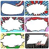 Targhette Adesive Nome Super Eroe Bambini e Adulti Etichette Scrivibili per Scuola o Ufficio Casa, Ideale per Studenti o Insegnanti, 6 Design 180 PZ