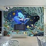 LONGYUCHEN 3D Wandbild Tapete Unterwasserwelt Cartoon Delphin Foto Für Kinder Benutzerdefinierte Kinderzimmer Tv Sofa Hintergrund Silk Wandbilder,300Cm(H)×500Cm(W)