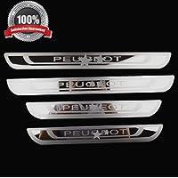 JABL 4Pcs Car Acciaio Inox Piastra Battitacco per Hyundai Santa Fe 2013-2017 Kick Plates Trims Cover Anti-Graffio Protector,Accessori Styling Dllauto