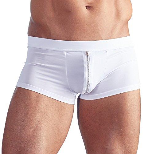 Orion Herren Pants - sexy Boxershorts mit Reißverschluss vorne, Unterwäsche für Männer, elastische Unterhose in weiß (L)
