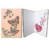 PETAFLOP Tarjeta de Felicitación de Madera Superior Hecho a Mano Postal Decorada para Persona Especial y Ocasión Importante Mariposa Colorosa
