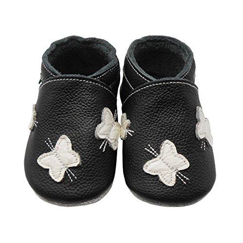 Sayoyo Baby Schmetterling Lauflernschuhe Leder Weiche Sohle Baby Mädchen Baby Jungen Kugelsicherer Krippe Enfants Schuhes Violett Schwarz