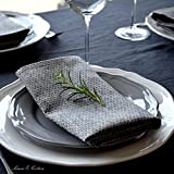 Linen & Cotton 4 x Luxus Stoffservietten HONEYCOMB, 100% Leinen - 47 x 47cm (Schwarz/Beige/Grau) - 2