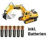 RC Bagger 1:27 Kettenantrieb 4 + 2 Kanal - ferngesteuert mit Motorsound , Hupe und Licht INKL. BATTERIEN - komplett Set