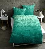 Casatex Renforcè-Bettwäsche Demir Reine Baumwolle mit Paisleys Ornamenten Spitzenoptik 155x220 cm Smaragd-Grün