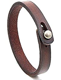 MLD Handmade Unisex Genuine Leather Bracelet, Adjustable Cuff Wristband, Punk Dark Brown Leather Wrap