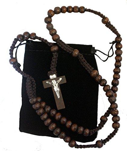 Gorgeous para hombre o mujer marrón madera con cable juego de perlas de rosario. Católica rosario collar con Cruz y bolsa de regalo de terciopelo libre. Unisex Regalo. Estos abrazadera de cuentas de madera son adecuado para todas las edades. Un gran regal