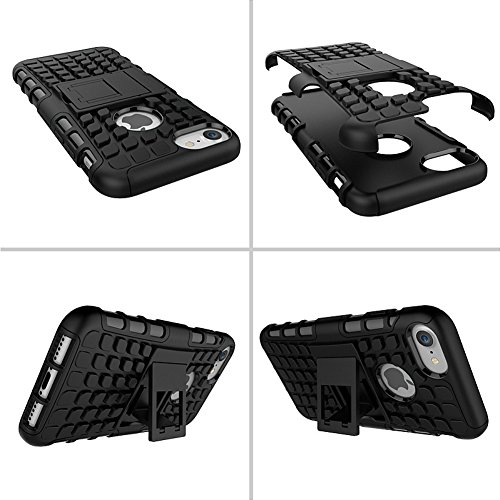 iPhone 8 Plus Back Coque DWaybox 2in1 Combo Hybrid Rugged Heavy Duty Armor Hard Housse Coque pour Apple iPhone 8 Plus 5.5 Inch Stand Coque avec kickstand (Hot Pink) White