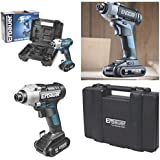 Erbauer 18V cordless lithium impact driver complete kit with 2 x 2.0ah Li-ion Batteries, Fast Charger & Heavy duty case.