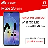 Vodafone Huawei Mate 20 mit 128 GB internem Speicher, Smart XL inkl. 11GB Highspeed Volumen mit Max 500 Mbits, inkl. Telefonie- und SMS Flat, EU-Roaming, 24 Monate min. Laufzeit, mtl. 51, 99 Blau