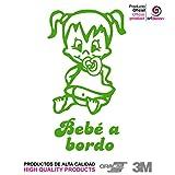 """Artstickers® - Adesivo con scritta """"Bebé a Bordo"""", motivo: bimba,collezione Babyfun, 10colori a scelta + regalo sorpresa"""