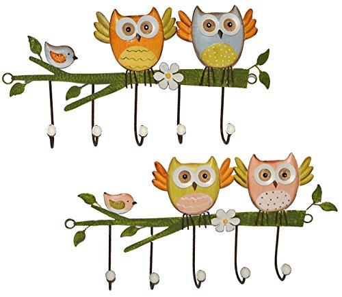 2 tlg. Set: Garderobenhaken Eulen aus Metall - Wandhaken Kindergarderobe mit 5 Kleiderhaken Kind Wandgarderobe - für Innen und Außen - bunte Eule Vögel Tiere