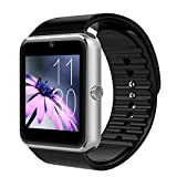 Smart Watches Best Deals - Padgene Smart Watch Bluetooth avec Slot SIM pour Android Samsung HTC LG SONY HUAWEI(Full Functions) IOS iPhone 5/5s/6/plus(Partial functions), Argent