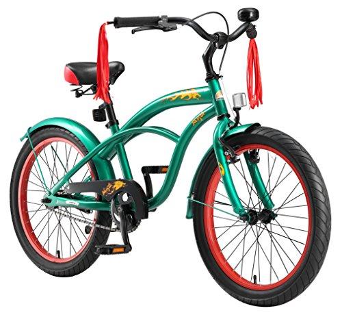 BIKESTAR Premium Sicherheits Kinderfahrrad 20 Zoll für Jungen ab 6 - 7 Jahre ★ 20er Kinderrad Cruiser ★ Fahrrad für Kinder Grün (Geschenk Für Besondere Bedürfnisse Kind)