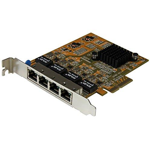 StarTech.Com ST1000SPEX43 - Tarjeta Adaptador de Red PCI Express PCI-E Ethernet Gigabit con 4 Puertos RJ45 de 1Gbps