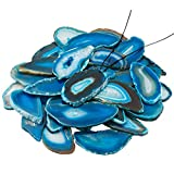 KYEYGWO - Colgante de cuarzo con ágata irregular perforada para joyería, paquete de 10, piedra, azul