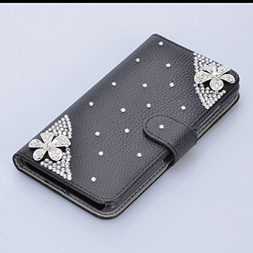 3D Coque iPhone 8 Plus Housse Étui 3 en 1 PU Cuir Case, Vandot Luxe Brillant Diamant Coque Bling Bling Cristal Strass Cover Motif Ange Elf Couverture Magnetic Flip avec Support Stand Wallet Case pour  Diamant 14