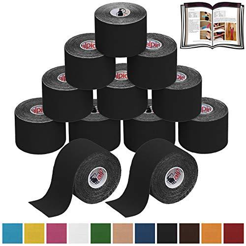 12 Rollen Kinesiologie Tape 5 m x 5,0 cm in verschiedenen Farben, Farbe:schwarz