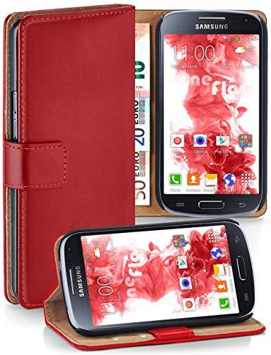 moex® Booklet mit Flip Funktion [360 Grad Voll-Schutz] für Samsung Galaxy S4 | Geldfach und Kartenfach + Stand-Funktion und Magnet-Verschluss, Rot