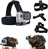 SAVFY Head Strap Mount for GoPro Hero4 3+ 2 1 sport action camera - Elastic Adjustable Head Harness Belt Strap Band Mount