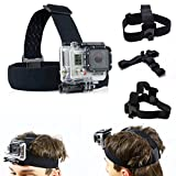 SAVFY Head Strap Mount for GoPro Hero4 3+ 2 1 sport action camera - Elastic Adjustable Head Harness Belt Strap Band Mount