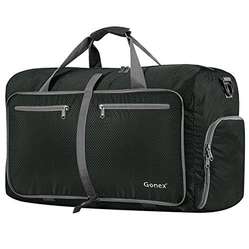 Gonex - Bolsa de Equipaje Plegable para Deporte o Viaje (Multiusos, Impermeable, 80 L) L Gris Oscuro