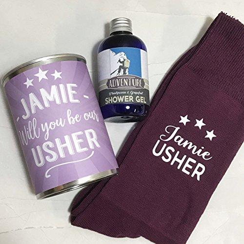 Cinnamon Bay Personalisierte Socken in einer Dose Will You By My Usher Wedding Day Geschenk-Set