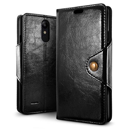 SLEO LG K9/LG K8 2018 Hülle, Retro PU Lederhülle Wallet Deckel mit Kartensteckplätze Tasche für LG K9/LG K8 2018 - Schwarz