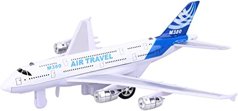 ShopMeFast 18cm Alloy Airplane Model Plane Fun with Pull Back Flashing Light & Music Kids Toy (Multicolor)