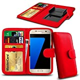 N4U Online® Posh Titan Max HD E550 PU-Leder-Clip-Mappen-Kasten-Abdeckung mit Kreditkarte, Notes & ID Slots - Rot