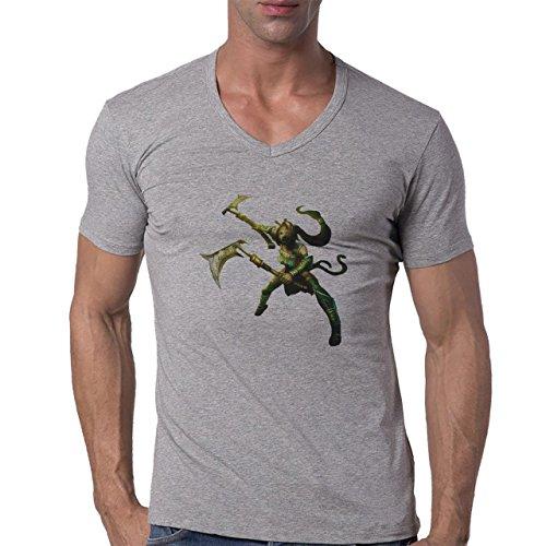 League Of Legends Standard Aklai Herren V-Neck T-Shirt Grau