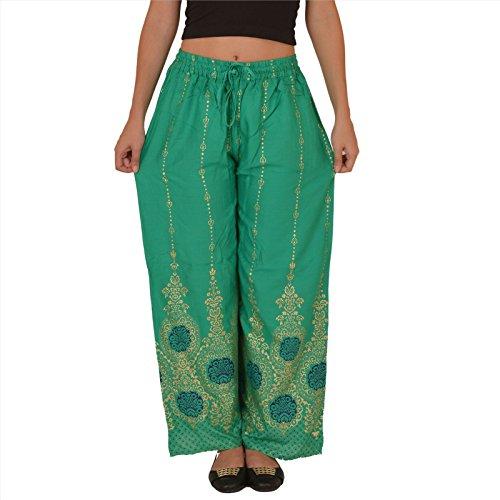 SNS rayon donne palazzo pantaloni pigiama motivo floreale dipinto Sea Green