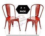 F&T Lot de 2 chaises en métal de style industriel-chic pour cuisine Bistro Bistro Tolix Design ROUGE