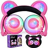 Auriculares de los Cabritos Anime Oído del Oso AMENON USB Atado con Alambre Plegable Impermeable sobre Auriculares del Juego del oído con el LED para Las Muchachas, Cabritos, Muchachos