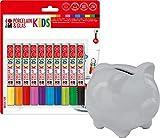 Marabu - Porcelain und Glas Painter Kids Set Mega Fun, Porzellanmalstifte für Kinder 10er Set, spülmaschinenfest nach Einbrennen, CE Zeichen, Universalspitze 1-3 mm + Original Marabu Sparschwein zum bemalen