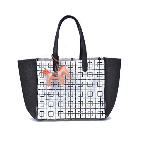 Zarapack da donna in ecopelle grande shopping Tote Vocation Beach borsa, Style 4 (Bianco) - BA93744 Style 4