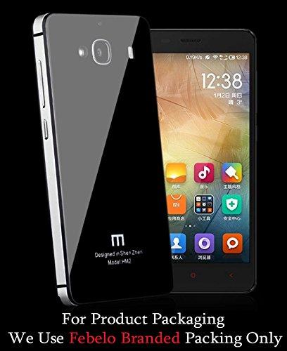 Febelo Febelo Branded Luxury Glass Back Aluminium Side Panel Battery Injection Case Cover for Xiaomi Redmi 2 / Xiaomi Redmi 2 Prime - Black & Silver