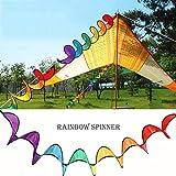 Cuigu Moulins à Vent de Jardin Colorés et Fileurs, Moulins à Vent Spirale Rainbow Pliable Home Garden Camping Tentes Décorations