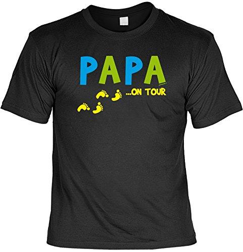 Spaß/Fun-Shirt mit witzigem Aufdruck für Väter: Papa ... on Tour - lustiges Geschenk Schwarz