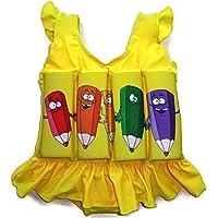 Traje de baño con flotador para niños, flotabilidad ajustable, Yellow Pencils