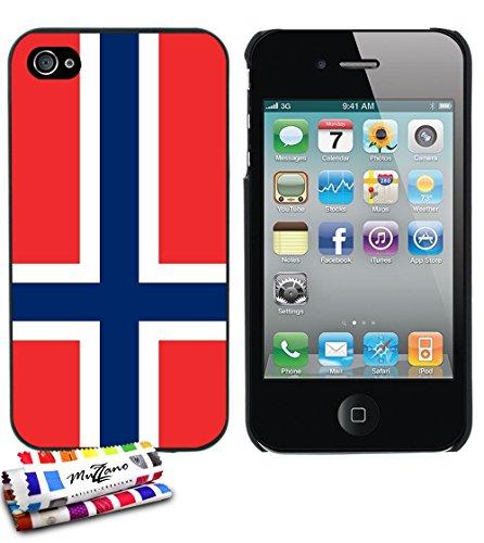 Ultraflache weiche Schutzhülle APPLE IPHONE 4 / IPHONE 4S [Flagge Norwegen] [Bonbonrosa] von MUZZANO + STIFT und MICROFASERTUCH MUZZANO® GRATIS - Das ULTIMATIVE, ELEGANTE UND LANGLEBIGE Schutz-Case fü Schwarz