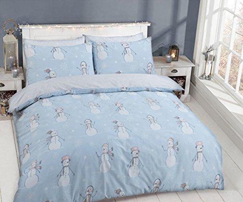 C2s, set di copripiumino con federe, in policotone, misto cotone, speciale set di biancheria da letto, cotone/misto-cotone/poliestere, snowman, doppio
