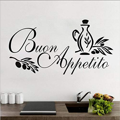 (Hjcmhjc) Buon Appetito Adesivo Murale Italienische Home Küche Wandaufkleber Kunst Design Vinyl Aufkleber Für Esszimmer Dekoration 75 * 38 Cm