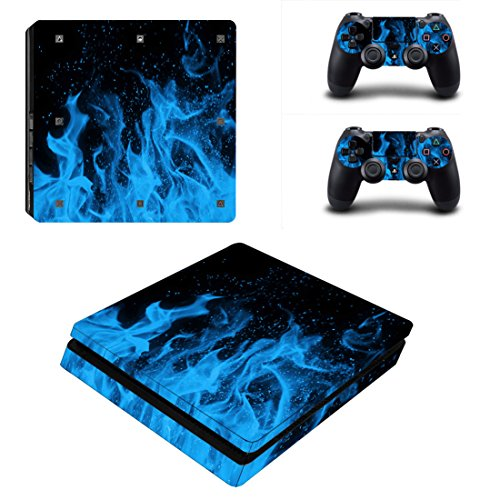 Morbuy Ps4 Slim Skin Consola Design Foils Vinyl Pegatina Sticker And 2 Playstation 4 Slim Dualshock Controlador Skins Set (Blue Fire)