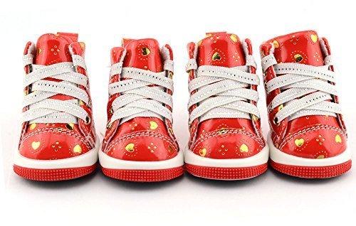 Mädchen Jungen Haustier Hund Katze schützende Schuhe Sandalen Sneakers Sportschuhe Kleidung Kleidung Party Kostüm Outfit Accessoire UK rotes Herz Sneakers, Extra Large (Uk Jungen Kostüme)