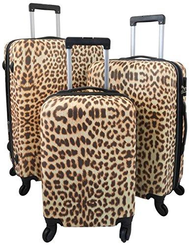 36337 ABS Hartschalen Koffer Trolley Reisekoffer Reisetrolley Handgepäck Boardcase Leopard Leo Fell 3tlg. M+L+XL