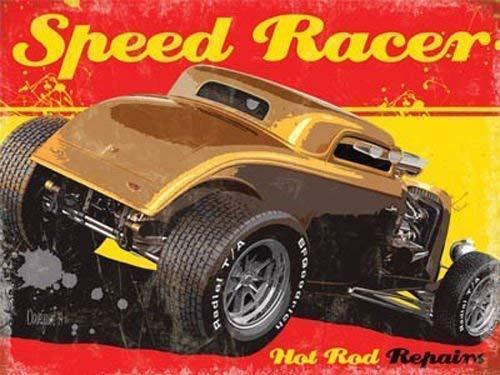 Hot Rod Speed Racer Reparaturen. Hacken Top Rat Rod, 6130001977. FORD. American Zeit, Street Racer. Für Haus, Home, Garage, Kneipe oder Bar. Metall/Stahl Wandschild, stahl, 30 x 40 cm -